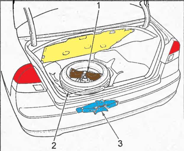 Запасное колесо, домкрат и инструмент в багажнике, седан