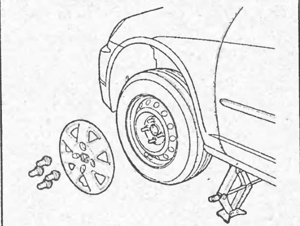 Снятие колеса седан, хэтчбек