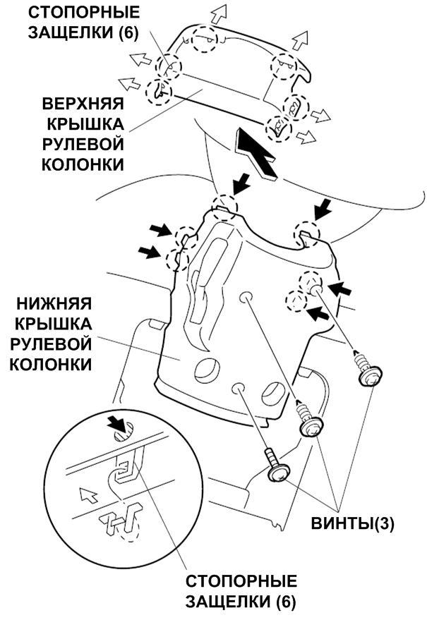 34_отделка рулевой колонки снятие honda civic ferio