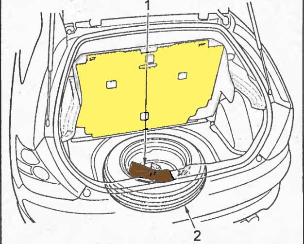 Запасное колесо, домкрат и инструмент в багажнике, хэчбек 3х дверная модель