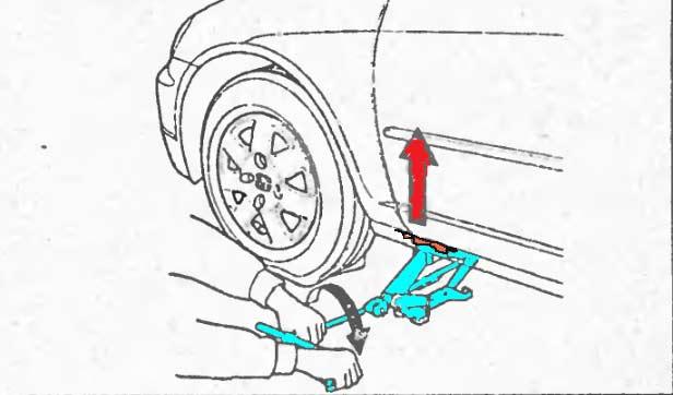 Поддомкрачиваем автомобиль после срыва болтов