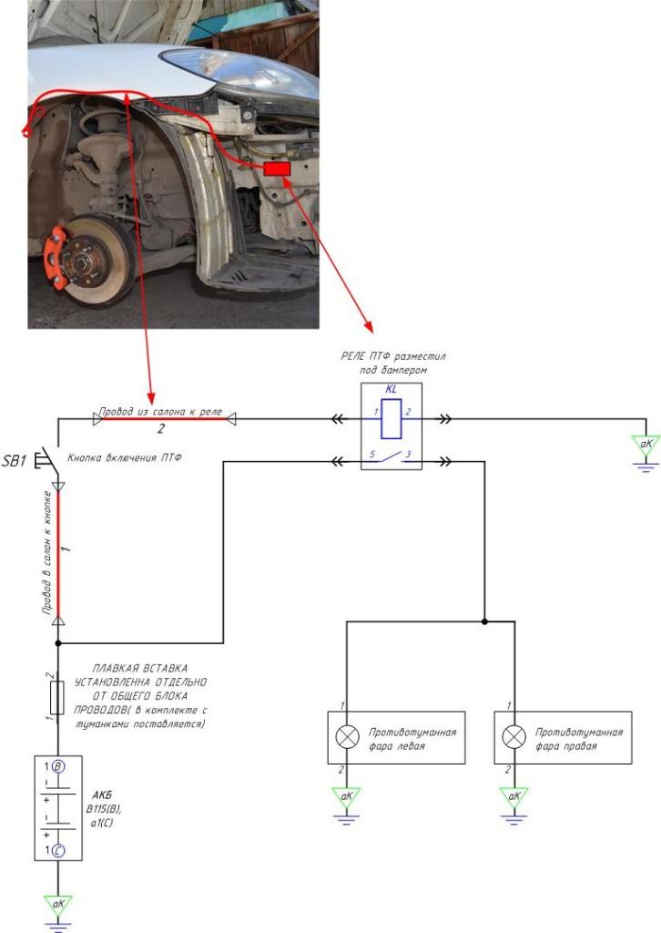 Схема установки Противотуманных фра Honda CIVIC